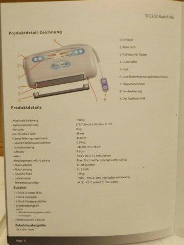 Badewannenlifter Tuchlifter Einstiegshilfe  Badehilfe TF 2202 OVP unbenutzt