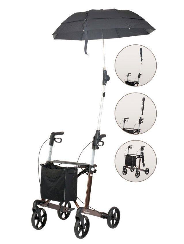 Russka Rollator vital Regenschirm mit Halterung schwarz
